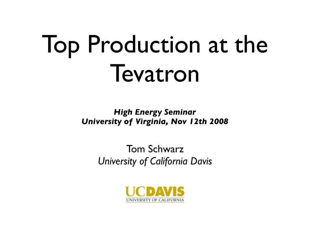 Physics at the University Of Virginia - High Energy Physics Seminars