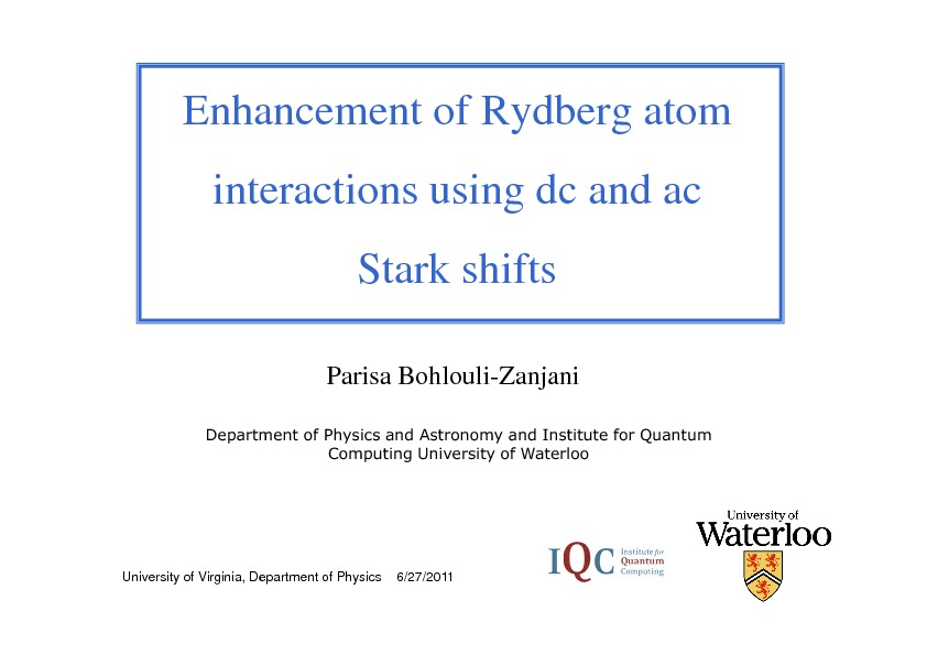 Physics at the University Of Virginia - All Atomic Physics Seminars